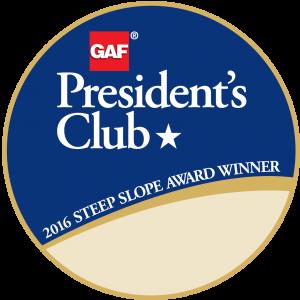 GAF President's Club 2016 Steep Slope Award Winner