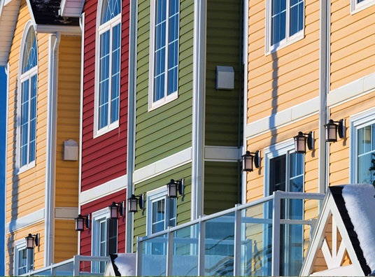 colorful new townhouses